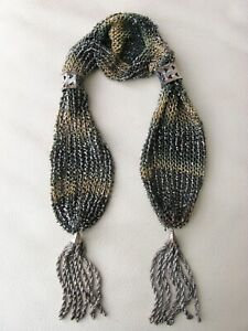 Antique Tan Forest Green Crochet Silver French Steel Bead Tassel Miser Purse