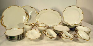 VINTAGE HAVILAND & CO RANSON WITH GOLD TRIM CHINA SERVICE FOR 6 W/SERVING PCS
