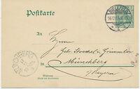 """DT.REICH """"BIELEFELD / 1"""" K2 a. 5 Pf Germania Kab.-GA-Postkarte nach """"MÜNCHBERG"""""""