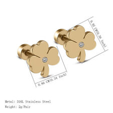 316L Stainless Steel Silver/Gold Women's Rhinestone Crystal Clover Stud Earrings