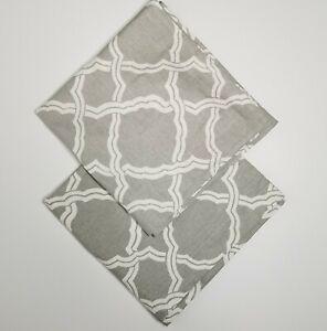 Pottery Barn Kendra Trellis Gray Set of 2 Euro Sham Pillow Covers Linen Blend
