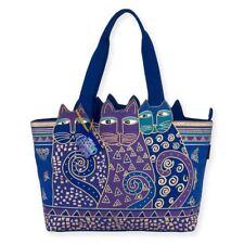 Laurel Burch Indigo Blue Cats Large Cutout Purse Shoulder Tote Handbag