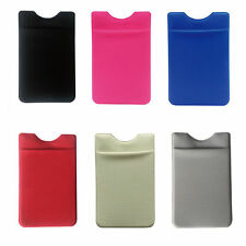 Lycra Phone Stick On Wallet Credit Card Holder Adhesive 6 Colors for iPhone 6 7