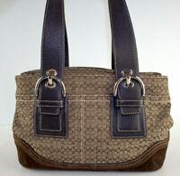 Coach F10927 Jacquard Canvas Leather Brown Signature Shoulder Bag Purse
