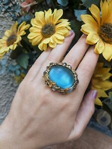 Alexis Bittar Large Statement Teal Lucite Crystal Gold Ring Size 7 *Read*
