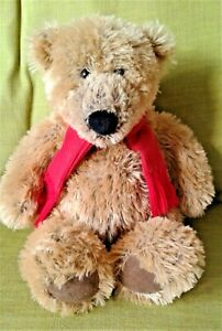 """Radcliffe The Borders Bear Gund 15"""" Soft Toy Plush Comforter with Red Scarf EXC"""