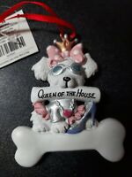 Queen Of The House Puppy White Dog Christmas  Ornament Fashinista