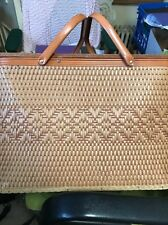 Vintage Woven Wood Redmon Picnic Set Basket~Pie Shelf~Lid~Metal Handles~Peru Ind