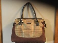 Eddie bauer Weekender Bag Canvas Brown Plaid  Hinged Lid Zipper
