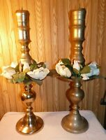 "Pair large brass floor candle holder 29"" tall Wedding Home Decor Holiday"