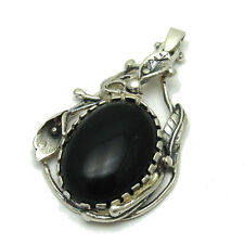HANDMADE STERLING SILVER PENDANT SOLID 925  WITH BLACK ONYX PE001050 EMPRESS
