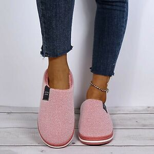 WOMENS LADIES COTTON CLOG HARD SOLE WARM SLIP ON FLEECE LINED SLIPPERS SHOES SZ