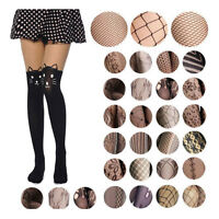 Black Sexy Women Fishnet Net Tattoo Pattern Jacquard Pantyhose Tights Stockings
