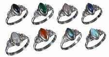 925 Solid Sterling Silver Ring Natural Multi Gemstones 3 to 14 US Size JR11