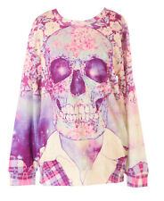 TY-WS-0368 Totenkopf Skull Blumen Print Gothic Punk Sweatshirt Pullover Print