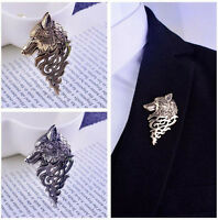 New Unisex Retro Europe Wolf Badge Brooch Lapel Pin Suit Accessory Jewelry Gift