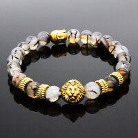 Fashion Men's Black Lava Stone Bead 8mm Gold Lion Buddha Beaded Charm Bracelet