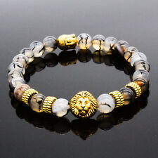 Fashion Men's Natural Black Lava Stone Gold Lion Buddha Beaded Charm Bracelet
