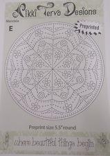 MANDALA E - EMBROIDERY PATTERN  by Nikki Tervo - Includes preprinted fabric