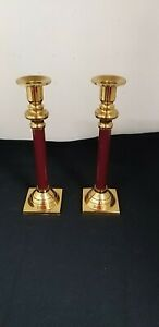 Pair of Burgendy & Brass Look Candlesticks Candle Holders height 23 cm