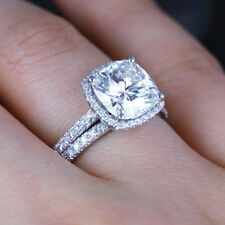 2.00 Ct Cushion Cut Diamond Halo Engagement Ring Set G,VS2 EGL Certified 14K WG