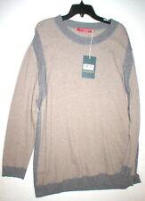 New Womens NWT Max Mara Marina Rinaldi Sport Sweater Dress XL Gray Tan Cashmere