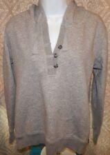 EDDIE BAUER Gray Heather LS V-Neck Hooded Sweatshirt Women's Small  HOODIE