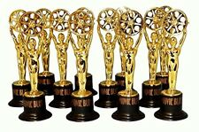 Movie Buff Gold Statues, Hollywood-Theme Parties Decoration 12-Piece Awards NEW