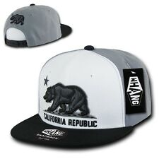 White Black & Gray California Republic Bear Vintage Flat Bill Snapback Cap Hat