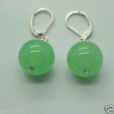 14MM Green Round Jade Gemstone Beads Lever Back Silver Dangle Earrings