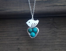 Mom Bird And Baby Eggs In Nest Sterling Silver Chain Necklace, Gift for Mom