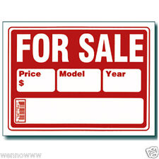 """5 Pcs 9x12 Inch Red&White Flexible Plastic """"For Sale""""Sign With Price Model Year"""