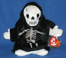TY CREEPERS the SKELETON BEANIE BABY - MINT with MINT TAGS