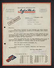 """PARIS (IV°) APPAREILS & ACCESSOIRES """"AGFA-PHOTO"""" illustrée en 1936"""