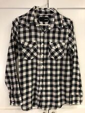 NWT Hurley Black and White Plaid Flannel Button Down Top Size Small