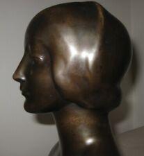 Antique Bronze Bust Laura of Noves Famous French Woman Art Nouveau Sculpture