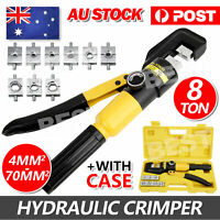 8 Ton 9 Dies Hydraulic Terminal Crimper Wire Force Cable Crimping Pliers 4-70mm