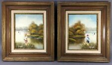 Set of Vintage Oil on Wood Boy & Girl Fishing Landscaping Painting by Granger