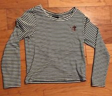 Topshop Long Sleeve Green Striped Women Top, Size 2, XS