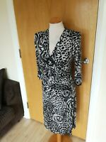 Ladies FOSBY Dress Size 12 Black Grey Stretch Smart Day Office Work Party