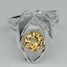 MODISH! YELLOW SAPPHIRE 7MM.  STERLING 925 SILVER RING SIZE 6.75