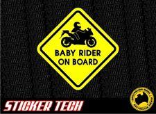 WARNING BABY ROAD BIKE MOTORCYCE RIDER ON BOARD STICKER DECAL SUITS R1 R6 NINJA