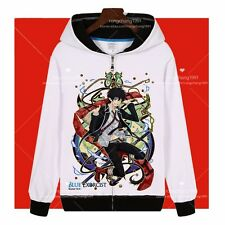 Anime Blue Exorcist Okumura Rin Cosplay Zipper Hooded Sweatshirt Hoodies Coat