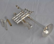 Prof. Piccolo Trumpet Bb /A Silver Plate Horn 2 lead pipes 4 piston valves +case