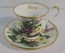Queens Tea Cup Saucer Rosina China February Purple Flowers England