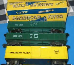 American Flyer 631 (BOXED) 931 GONDOLAS 639 YELLOW BOXCAR KNUCKLE COUPLERS GOOD/