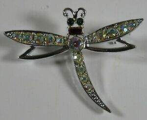 Vintage Emmons Crystal Dragonfly Brooch