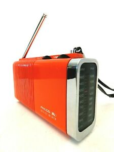 VINTAGE OLD ATOMIC RED PHILCO FORD RETRO AM-FM ANTIQUE CHROME TRANSISTOR RADIO