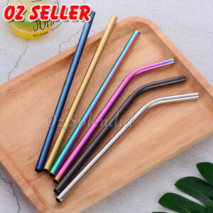 Reusable 304 Stainless Steel Straws Metal Drinking Washable Bent Straw + Brushes