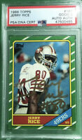 JERRY RICE SIGNED 1986 TOPPS ROOKIE CARD #161 HOF 49er🔥PSA/DNA 2 GOOD AUTHENTIC